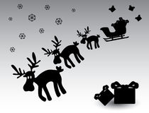 Black and white christmas reindeer eps10. Black and white christmas reindeer with gifts eps10 Stock Photo