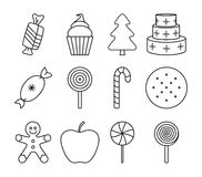 Black and white christmas sweets Stock Images