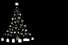 Black and white Christmas Tree. Black Christmas tree decorated with white ornaments with wrapped presents under Stock Illustration
