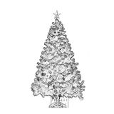 Black and white Christmas tree. Beautiful christmas tree in black and white Stock Image