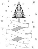 Black and white Christmas tree and ribbon banner Royalty Free Stock Photos