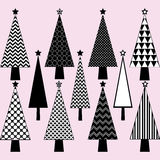 Black and White Christmas Tree set Stock Images