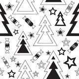 Black and white christmas trees. Black-and-white seamless pattern with Christmas trees, stars and candy Royalty Free Stock Photos