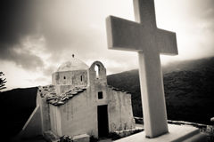 Black and White Church. Greek Church and Cross - Naxos Island royalty free stock photography