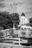Black and White Church on Hill Royalty Free Stock Photography
