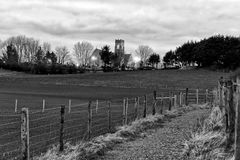 Black and white church landscape royalty free stock images