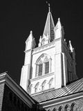 Black and white church steeple Royalty Free Stock Photography