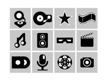 Black and white cimena and music icons Stock Image