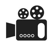 Black and white cinema camera, vector graphic. Black and white cinema camera over isolated background, vector illustration Royalty Free Stock Images