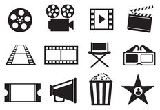 Black and White Cinema Movie Entertainment Vector Icon Set Stock Image