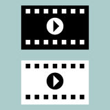 Black and white cinematographic ribbon icon. Royalty Free Stock Photos