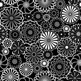 Black and white circle daisy flowers natural seamless pattern, vector stock illustration