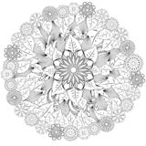Black and white circle flower ornament, ornamental round lace design. Floral mandala. Hand drawn ink pattern made by trace from. Personal sketch royalty free illustration