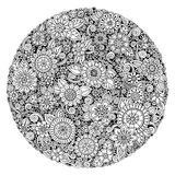 Black and white circle flower ornament, ornamental round lace design. Floral mandala. Hand drawn ink pattern made by trace from personal sketch royalty free illustration