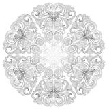 Black and white circle flower ornament, ornamental round lace design. Floral mandala. Hand drawn ink pattern made by trace from. Personal sketch stock illustration
