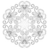 Black and white circle flower ornament, ornamental round lace design. Floral mandala. Hand drawn ink pattern made by trace from. Personal sketch vector illustration