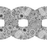 Black and white circle flower ornament, ornamental round lace design. Floral mandala with paisley. Hand drawn ink pattern. Royalty Free Stock Photography
