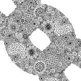 Black and white circle flower ornament, ornamental round lace design. Floral mandala with paisley. Royalty Free Stock Image