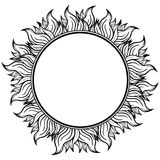 Black white circle frame with spurts of flame. Vector illustration. Rock'n'roll style Stock Image