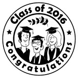 Black and White Circle Label: Class of 2016 in Doodle Style Stock Photos