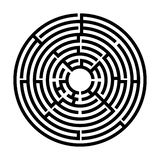 Black and White Circle labyrinth, Children riddle game, puzzle with an entry and an exit. vector illustration
