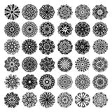 36 black and white circle lace pattern big collection, christmas. Design snowflake set, ethnic background vector illustration Royalty Free Stock Image