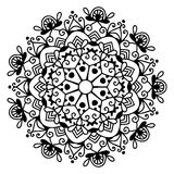 Black and white circle lace pattern, christmas design snowflake Stock Photography