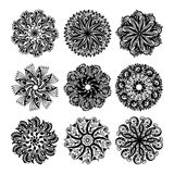 Black and white circle lace pattern collection, christmas design Royalty Free Stock Photos