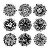 Black and white circle lace pattern collection, christmas design. Snowflake set, ethnic background vector illustration Royalty Free Stock Photography