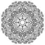 Black and white circle ornament, ornamental round Stock Images