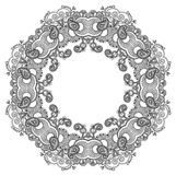 Black and white circle ornament, ornamental round. Lace, vector illustration Royalty Free Stock Photo