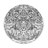 Black and white circle ornament wild forest, ornamental round lace design. Floral mandala. Hand drawn pattern made by ink trace fr stock illustration