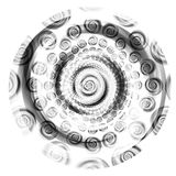 Black and White Circle Swirls. An abstract circle of spirals in black and white texture royalty free stock image