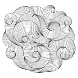 Black and white circle wave ornament, ornamental round lace design royalty free illustration