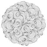 Black and white circle wave ornament, ornamental round lace desi Stock Photos