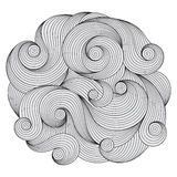 Black and white circle wave ornament, ornamental round lace desi Royalty Free Stock Images