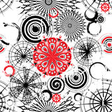 Black and white circles seamless grunge background Stock Photos