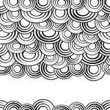 Black and white circles seamless pattern, vector background.Monochrome abstract clouds with gaps,creative  stylish Royalty Free Stock Images