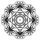 Black and white circular floral pattern. Round ornamental pattern, mosaic hand drawn  Royalty Free Stock Photos