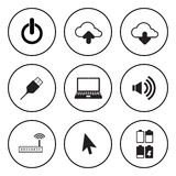 Black and white circular icon for computer and technology concep Stock Photography