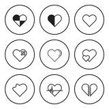 Black and White Circular Icon for Heart and Love Concept Stock Photos