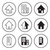 Black and White Circular Icon for House and Residence Stock Photography