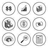 Black and White Circular Icon for Money and Finance Concept Isol Stock Photos