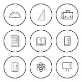 Black and White Circular Icon for School Concept  on Whi Stock Images