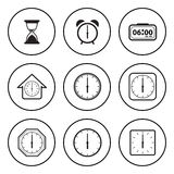 Black and White Circular Icon for Time and Clock Concept Royalty Free Stock Image