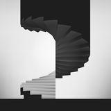 Black and white circular staircase design background. Vector illustration Royalty Free Stock Images