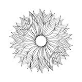 Black and white circular vector illustration. A round pattern Stock Photo