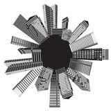 Black and white cities. Vector art Royalty Free Stock Images