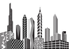 Black and white city royalty free illustration