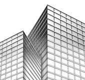 Black and White City Buildings. With a white, isolated, background. The bottom is a blueprint layout sketch of lines fading to a real building construction with Royalty Free Stock Photos